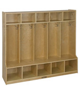 5 Section Coat Locker w/ Built-in Bench, School Lockers, Wooden Locker -... - $389.99