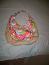 Disney shoulder bag purse pink/blue/green swirls/flowers with tan trim USED - $15.88