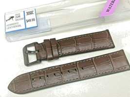 HADLEY ROMA WATERPROOF BROWN HYBRDFIT LEATHER / SIL RUBBER WATCH BAND 20MM - $40.32