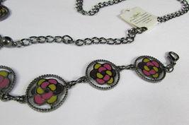 Damen Zinn Metall Bling Gürtel Gelb Rosa Blume Anhänger Hüfte Taille S M L image 6
