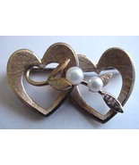 Old Krementz Gold Filled Double Heart & 2 Pearl Pin - $12.50