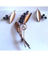 Vintage 12K Gold Filled Blue Rhinestone Pin & Earrings Set - $15.00
