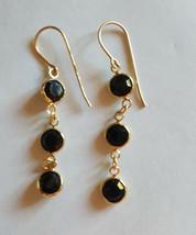 Vintage Swarovski 10k Gold Plated Dangle Earrings Onyk Black Stones - $11.88