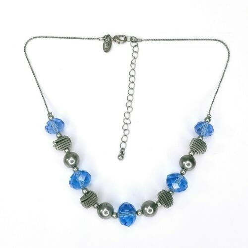 2028 1928 Brand Jewelry Signed Silvertone Blue Faceted Coiled Beaded Necklace - $16.48