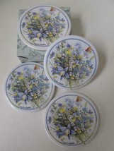NEW Marjolein Bastin Set /4 Ceramic And Cork Coasters Floral Butterfly H... - $24.99