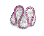 PINK SAPPHIRES and Channels of CZs RING set in STERLING Silver - Size 5.75