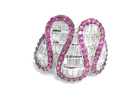 PINK SAPPHIRES and Channels of CZs RING set in STERLING Silver - Size 5.75 - $235.00