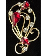 Vintage Star-Art Gold Filled Ruby Red Rhinestone Pin - $17.50