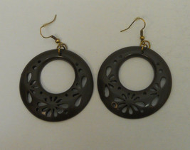 Women's Fashion Drop Dangle Earrings Brown Circles Hook Fasteners AXESORIES - $7.97