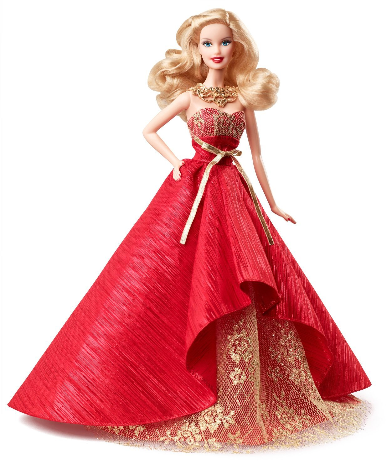 Image 0 of Holiday Barbie Doll 2014 in Posh Princess Red and Gold Satin Gown, Mattel