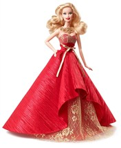 Holiday Barbie Doll 2014 in Posh Princess Red and Gold Satin Gown, Mattel - $42.99