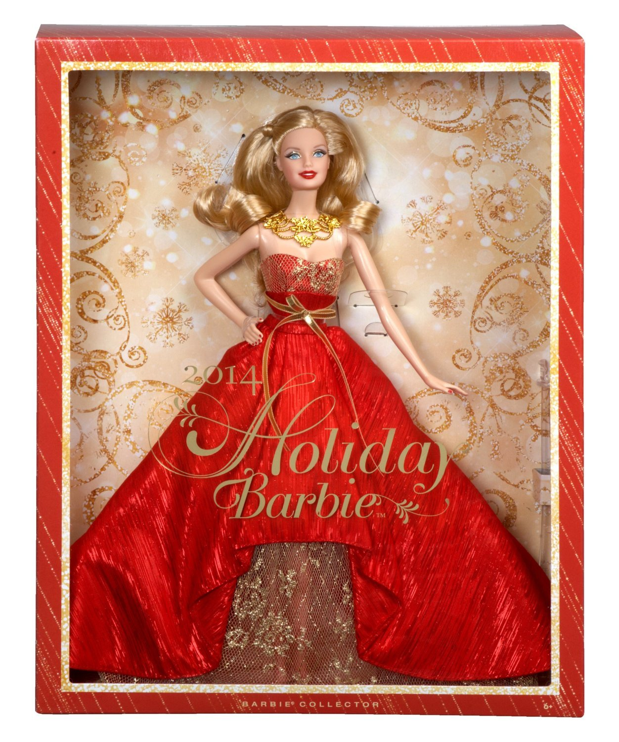 Image 1 of Holiday Barbie Doll 2014 in Posh Princess Red and Gold Satin Gown, Mattel
