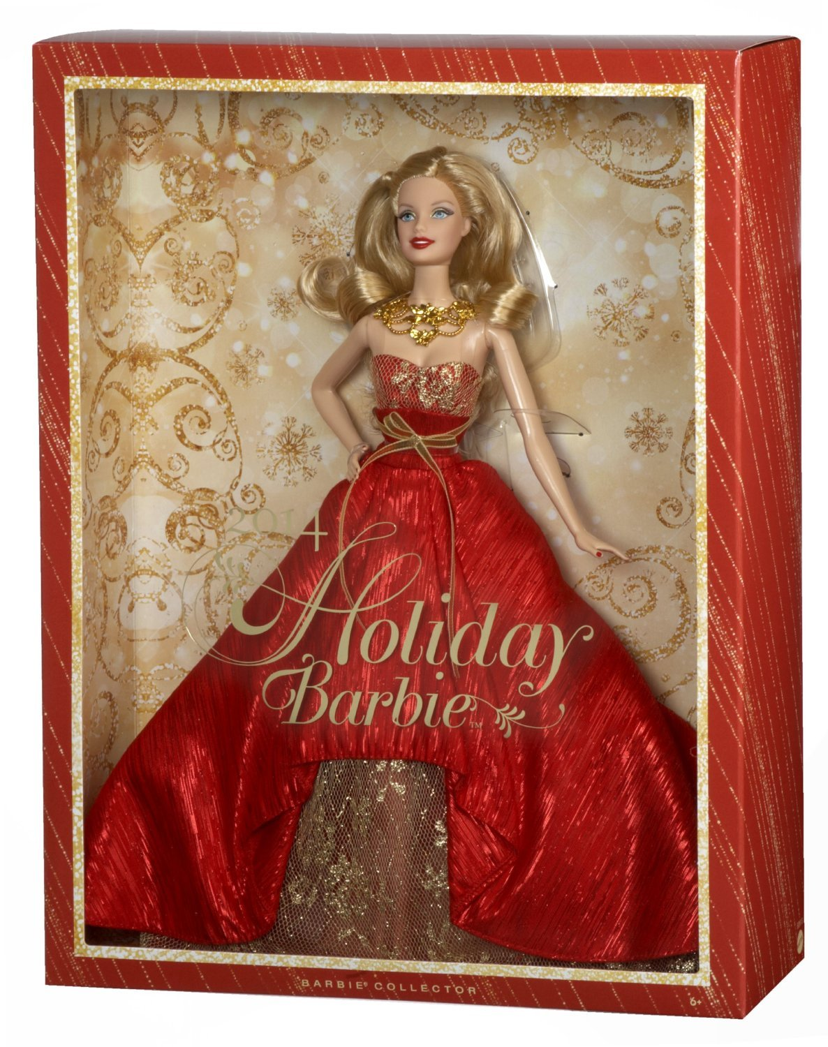 Image 2 of Holiday Barbie Doll 2014 in Posh Princess Red and Gold Satin Gown, Mattel