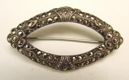 OVAL STERLING & MARCASITE PIN - DECO - $75.00