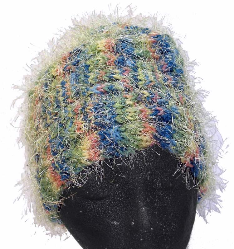 Primary image for Yellow/green/blue/pink hand knit hat with eyelash fuzzies