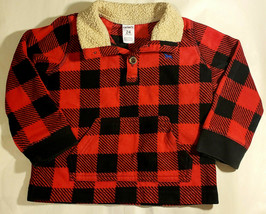 CARTERS – Boy Toddler Red and Black Plaid Fleece Pullover Shirt – Size 24 Months - $9.90