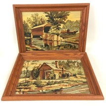 Water Mills PAIR VTG Framed Paint By Number Painting MCM Neutral Muted C... - $61.74