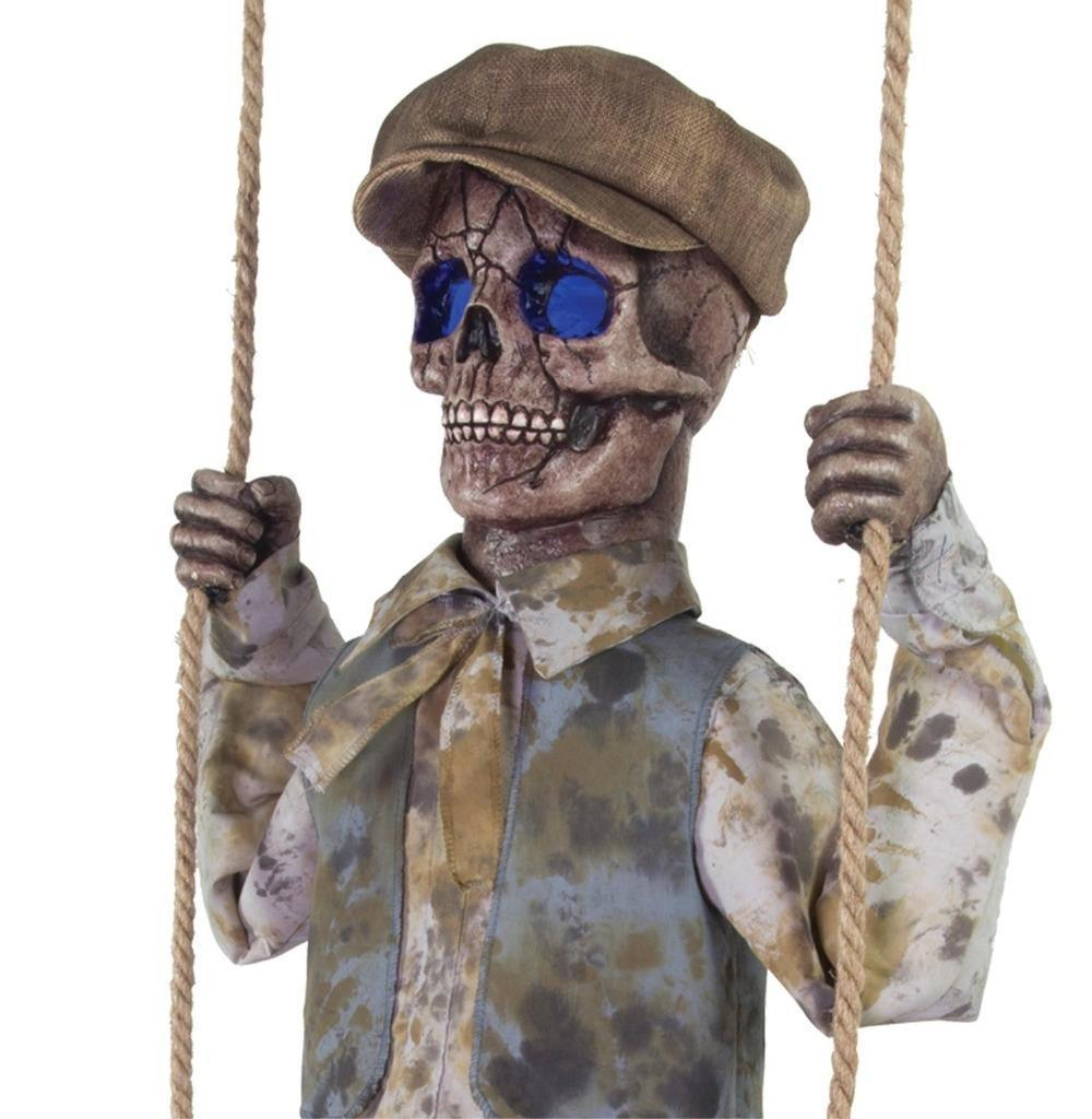 Animated Swinging Skeleton GHOST SPIRIT Boy Outdoor HALLOWEEN Prop VIDEO>