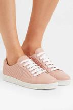 Prada Gesteppt Niedrig Top Blush Leder Schnürschuhe Sneakers Flache 39 Neu - $315.70