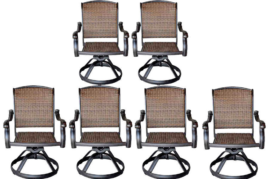Wicker Swivel Rocker Patio Chairs Set Of 6 Outdoor Cast