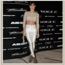 High Waist Satin Metallic White Neon Zip Up Skin Tight Legging Pencil Pants