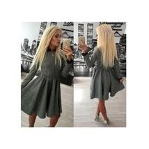 Autumn Dress Long Sleeve Pure Color European Fashionable Attire S - $28.99