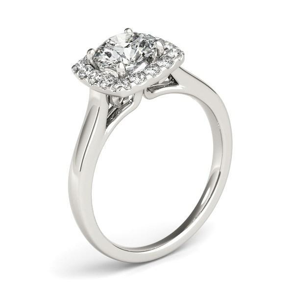 14k White Gold Square Shape Border Diamond Engagement Ring (1 1/3 cttw)