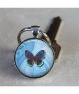 Round Butterfly Glass Bezel Key Chain - $7.95
