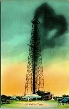 Vtg linen postcard-oil well in texas-unused Colourpicture - $5.95