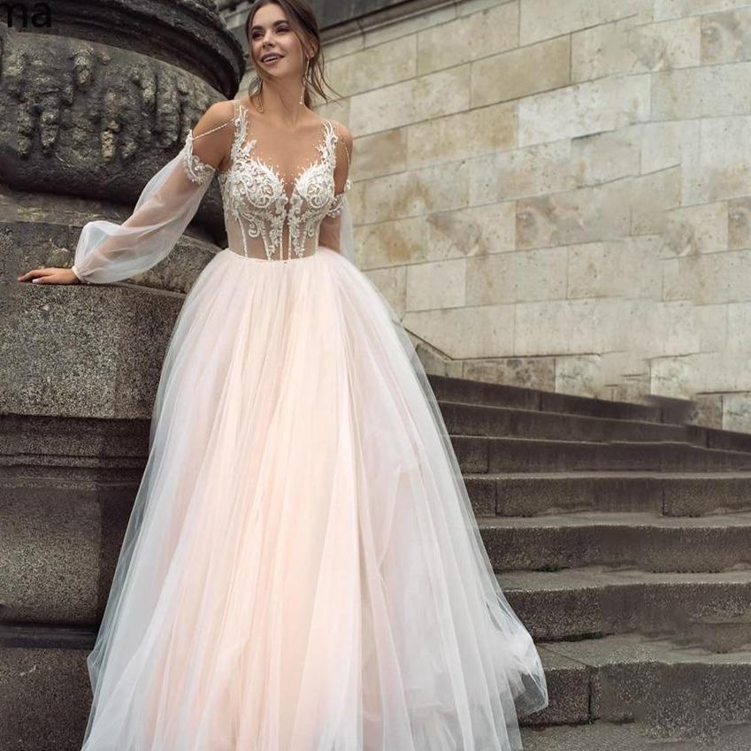 Booma blush pink boho wedding dress 2020 appliques lace tulle a line princess beach bride gown