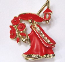 Spanish Courting Senor Enamel & Rhinestone Brooch - $19.99