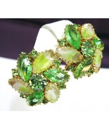 Large Light Green Rhinestone & Givre Art Glass Clip Earrings - $35.00