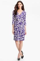 Diane Von Furstenberg Julian Spiral Ferns Viloet Wrap Size  12  - $249.99