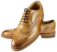 Handmade Men's Wing Tip Heart Medallion Lace Up Dress Oxford Leather Shoes image 1