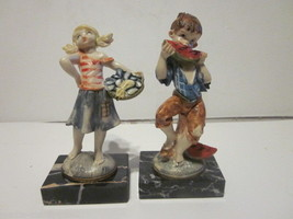 2 VINTAGE HARD RESIN & MARBLE BASES MADE IN ITALY COUNTRY BOY & GIRL W/O... - $9.99