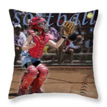 Catch it, Softball Catcher, Throw Pillow, fine art, seat cushion, accent... - $41.99+