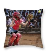 Catch it, Softball Catcher, Throw Pillow, fine art, seat cushion, accent... - $41.99 - $69.99