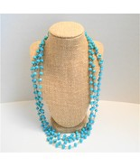 Turquoise Faceted Glass Bead Necklaces 2 Necklaces of 56 inches each  - $10.80
