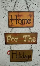 "HOLIDAY INSPIRATIONS- Metal and Chains Hanging Plaque ""Home for the Holi... - $22.00"