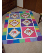 Elephant Quilt Top - Wall Hanging - 47 x 64 - Hand Appliqued and Embroidered - $98.99
