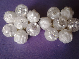 """""""Made in Western Germany"""" White and Clear Flower Crackle Bead Vintage Clip On Ea - $6.00"""