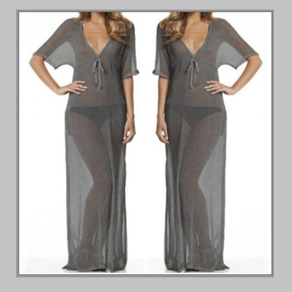 Soft Sheer Long Gray Tunic with Deep V Neck Bikini Beach Maxi Cover Up Dress