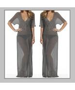 Soft Sheer Long Gray Tunic with Deep V Neck Bikini Beach Maxi Cover Up D... - $38.95