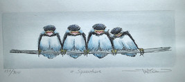 "Frank Gee ""4 Squawkers"" Birds on a branch #132/300 S/N Watercolor - $55.00"