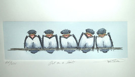 "Frank Gee ""Out on a Limb"" Watercolor of 5 Birds on Tree Limb Artist Proo... - $55.00"