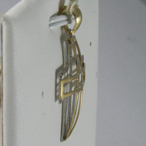 SOLID 18K WHITE & YELLOW GOLD CROSS, FINELY WORKED STYLISED 1.26, MADE IN ITALY image 2