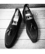 Handmade Men black Suede Tassels shoes, Men black Loafer suede moccasins  - $164.99
