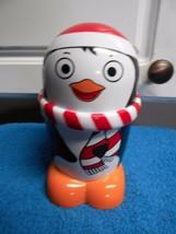 """penguin hard plastic with lid screws on 6.5"""" tall euc cute - $8.49"""