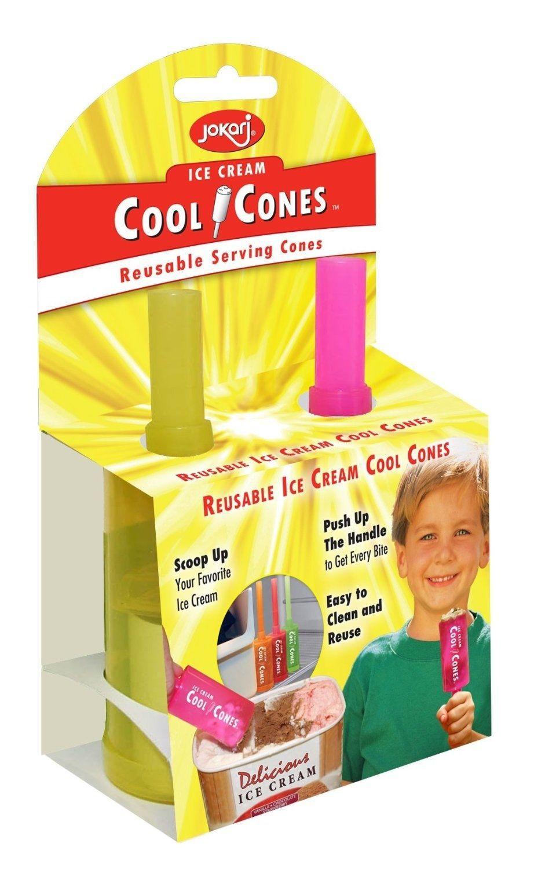 2 Pack Jokari Cool Cones Reusable Ice Cream Serving Cone Scoop Push Up Popsicle