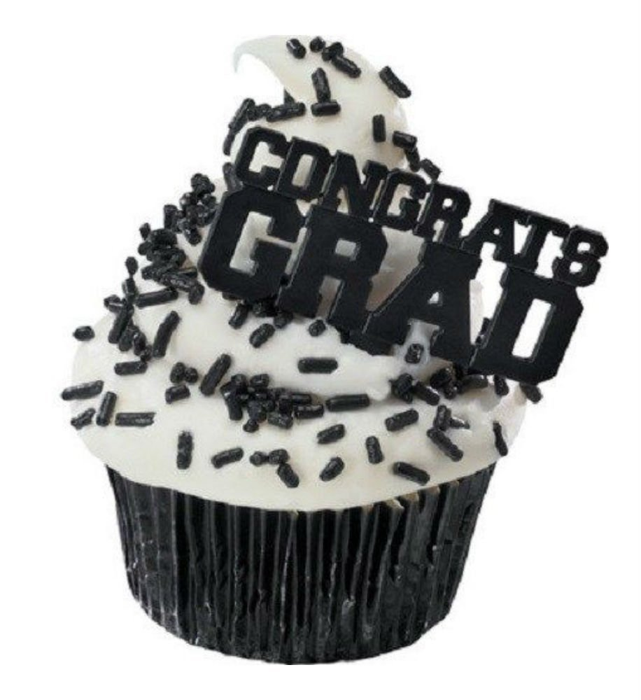 12 Black Congrats Grad Graduation Cake Cupcake Toppers Picks Party Decorations